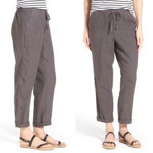 Caslon Grey Linen Crop Pants Small